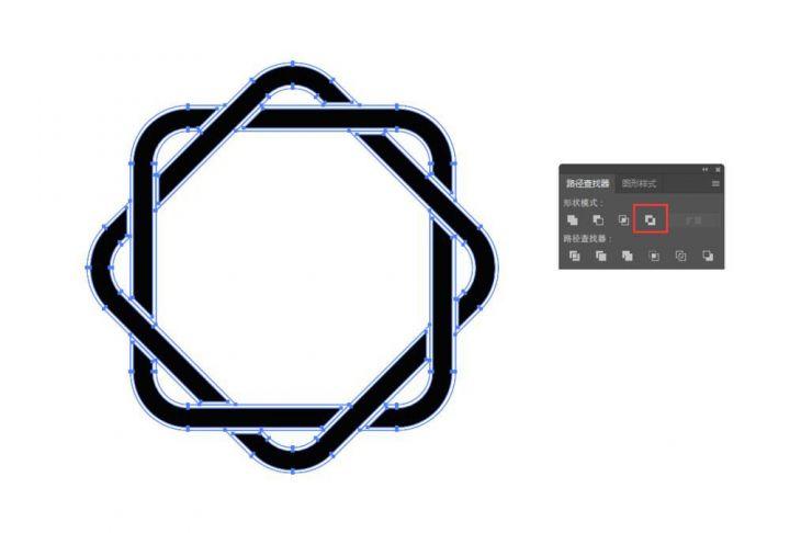 ai怎么设计圆角矩形穿插的logo? ai穿插花边图标的设计方法-热河云